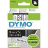 Dymo D1 Label Cassette Tape 12mmx7m Black on White