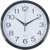 Italplast Wall Clock 30cm Round With Large Numbers Black Frame White Plastic Face