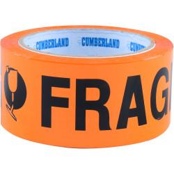 Cumberland Warning Tape 48mmx66m Fragile Black on Orange Pack Of 6