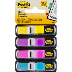 POST-IT FLAGS 683-4AB 11.9mm x 43.2mm Assorted Pack of 140