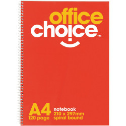 OFFICE CHOICE SPIRAL NOTEBOOK A4 - 210x297mm 120Pg SB