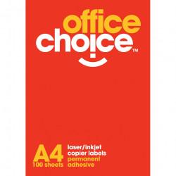 OFFICE CHOICE LASER LABELS Inkjet/Copier 4/Sht 99.1x139 Box of 100