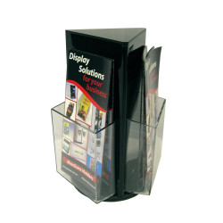 DEFLECT-O BROCHURE HOLDER DL Counter Top Rotating Black
