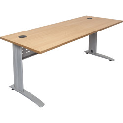 Rapid Span Open Straight Desk 1200Wx700mmD Modesty Panel With Beech Top & Silver Steel Frame