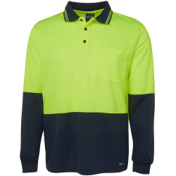 ZIONS 3813 SAFETY POLO SHIRT Two Tone Fluoro Long Sleeve
