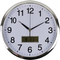 Italplast Wall Clock Inset LCD Date Month 36cm Round Chrome Frame White Face