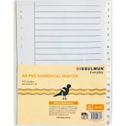 BIBBULMUN PVC DIVIDER A4 1-20 Tab White