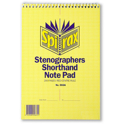 Spirax 566A Notebook Stenographers 225x152mm Ruled 200 Page Top Opening